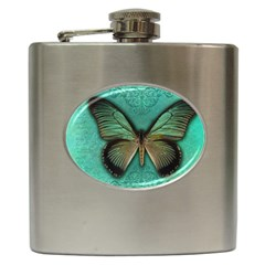 Butterfly Background Vintage Old Grunge Hip Flask (6 oz) by Amaryn4rt