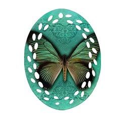 Butterfly Background Vintage Old Grunge Oval Filigree Ornament (two Sides) by Amaryn4rt