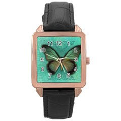 Butterfly Background Vintage Old Grunge Rose Gold Leather Watch