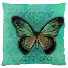 Butterfly Background Vintage Old Grunge Large Flano Cushion Case (two Sides) by Amaryn4rt