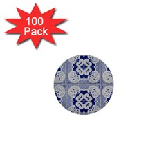Ceramic Portugal Tiles Wall 1  Mini Buttons (100 Pack)  by Amaryn4rt