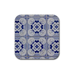 Ceramic Portugal Tiles Wall Rubber Square Coaster (4 Pack)  by Amaryn4rt
