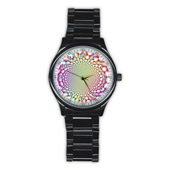 Color Abstract Background Textures Stainless Steel Round Watch by Amaryn4rt