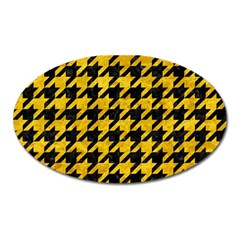 Houndstooth1 Black Marble & Yellow Marble Magnet (oval) by trendistuff
