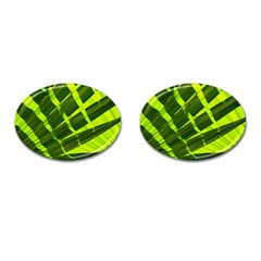 Frond Leaves Tropical Nature Plant Cufflinks (oval) by Amaryn4rt