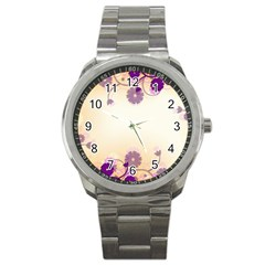 Floral Background Sport Metal Watch by Amaryn4rt