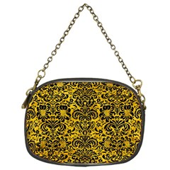 Damask2 Black Marble & Yellow Marble (r) Chain Purse (one Side) by trendistuff