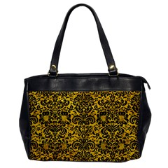 Damask2 Black Marble & Yellow Marble (r) Oversize Office Handbag by trendistuff