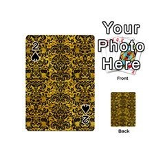 Damask2 Black Marble & Yellow Marble (r) Playing Cards 54 (mini) by trendistuff