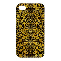 Damask2 Black Marble & Yellow Marble (r) Apple Iphone 4/4s Premium Hardshell Case