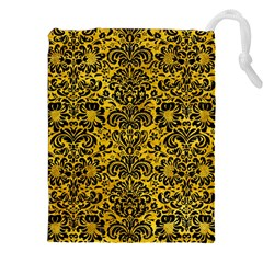 Damask2 Black Marble & Yellow Marble (r) Drawstring Pouch (xxl) by trendistuff