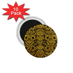 Damask2 Black Marble & Yellow Marble 1 75  Magnet (10 Pack)  by trendistuff