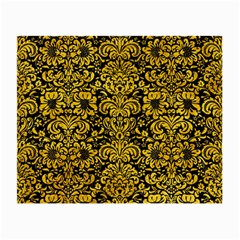 Damask2 Black Marble & Yellow Marble Small Glasses Cloth by trendistuff