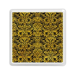 Damask2 Black Marble & Yellow Marble Memory Card Reader (square) by trendistuff