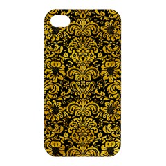 Damask2 Black Marble & Yellow Marble Apple Iphone 4/4s Hardshell Case by trendistuff