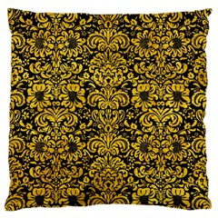 Damask2 Black Marble & Yellow Marble Large Flano Cushion Case (one Side) by trendistuff