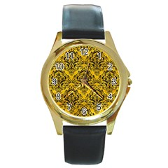 Damask1 Black Marble & Yellow Marble (r) Round Gold Metal Watch by trendistuff