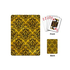 Damask1 Black Marble & Yellow Marble (r) Playing Cards (mini) by trendistuff