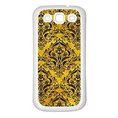 Damask1 Black Marble & Yellow Marble (r) Samsung Galaxy S3 Back Case (white) by trendistuff
