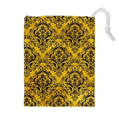 Damask1 Black Marble & Yellow Marble (r) Drawstring Pouch (xl) by trendistuff