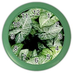 Green Leaves Nature Pattern Plant Color Wall Clocks by Amaryn4rt