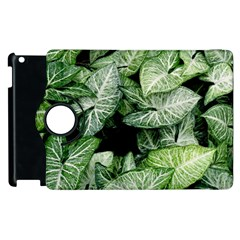 Green Leaves Nature Pattern Plant Apple Ipad 2 Flip 360 Case by Amaryn4rt