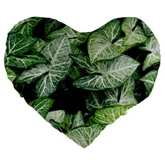 Green Leaves Nature Pattern Plant Large 19  Premium Flano Heart Shape Cushions by Amaryn4rt
