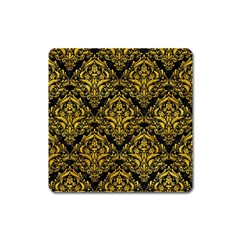 Damask1 Black Marble & Yellow Marble Magnet (square) by trendistuff