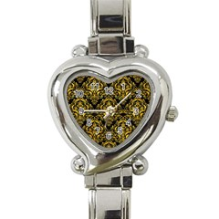 Damask1 Black Marble & Yellow Marble Heart Italian Charm Watch by trendistuff
