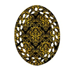 Damask1 Black Marble & Yellow Marble Ornament (oval Filigree) by trendistuff