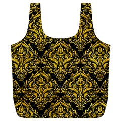 Damask1 Black Marble & Yellow Marble Full Print Recycle Bag (xl)