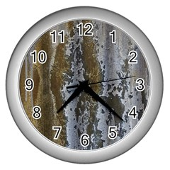 Grunge Rust Old Wall Metal Texture Wall Clocks (silver)  by Amaryn4rt