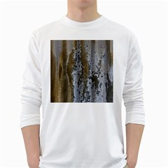Grunge Rust Old Wall Metal Texture White Long Sleeve T Shirts by Amaryn4rt
