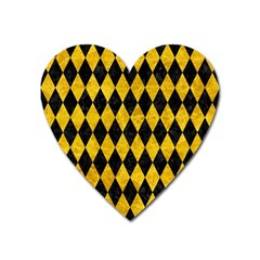Diamond1 Black Marble & Yellow Marble Magnet (heart) by trendistuff