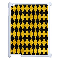 Diamond1 Black Marble & Yellow Marble Apple Ipad 2 Case (white) by trendistuff