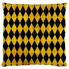 Diamond1 Black Marble & Yellow Marble Large Cushion Case (two Sides) by trendistuff