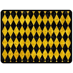 Diamond1 Black Marble & Yellow Marble Double Sided Fleece Blanket (large) by trendistuff