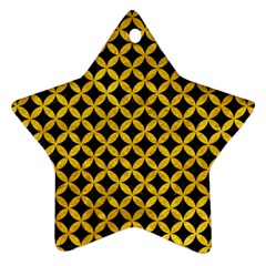 Circles3 Black Marble & Yellow Marble Star Ornament (two Sides) by trendistuff