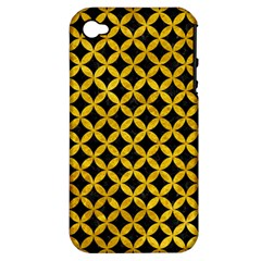 Circles3 Black Marble & Yellow Marble Apple Iphone 4/4s Hardshell Case (pc+silicone) by trendistuff