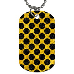 Circles2 Black Marble & Yellow Marble (r) Dog Tag (two Sides) by trendistuff