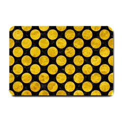 Circles2 Black Marble & Yellow Marble Small Doormat by trendistuff
