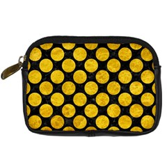 Circles2 Black Marble & Yellow Marble Digital Camera Leather Case by trendistuff