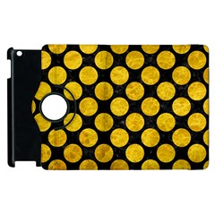 Circles2 Black Marble & Yellow Marble Apple Ipad 2 Flip 360 Case by trendistuff