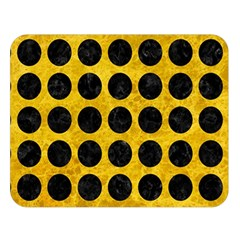 Circles1 Black Marble & Yellow Marble (r) Double Sided Flano Blanket (large) by trendistuff