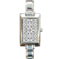 Mandala Line Art Black And White Rectangle Italian Charm Watch by Amaryn4rt