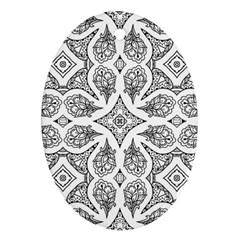 Mandala Line Art Black And White Ornament (oval)