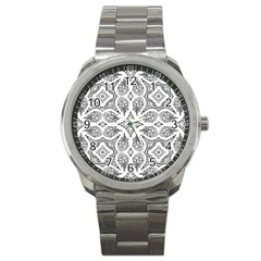 Mandala Line Art Black And White Sport Metal Watch by Amaryn4rt