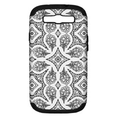 Mandala Line Art Black And White Samsung Galaxy S Iii Hardshell Case (pc+silicone) by Amaryn4rt
