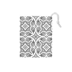 Mandala Line Art Black And White Drawstring Pouches (small)