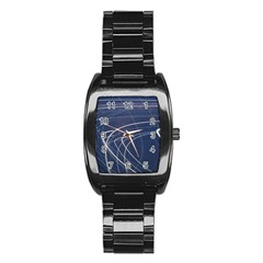 Light Movement Pattern Abstract Stainless Steel Barrel Watch by Amaryn4rt